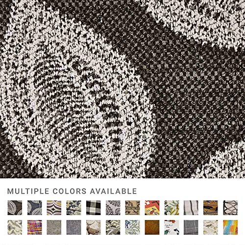 eLuxurySupply Fabric by The Yard - Polyester Blend Upholstery Sewing Fabrics - Adril Charcoal Pattern