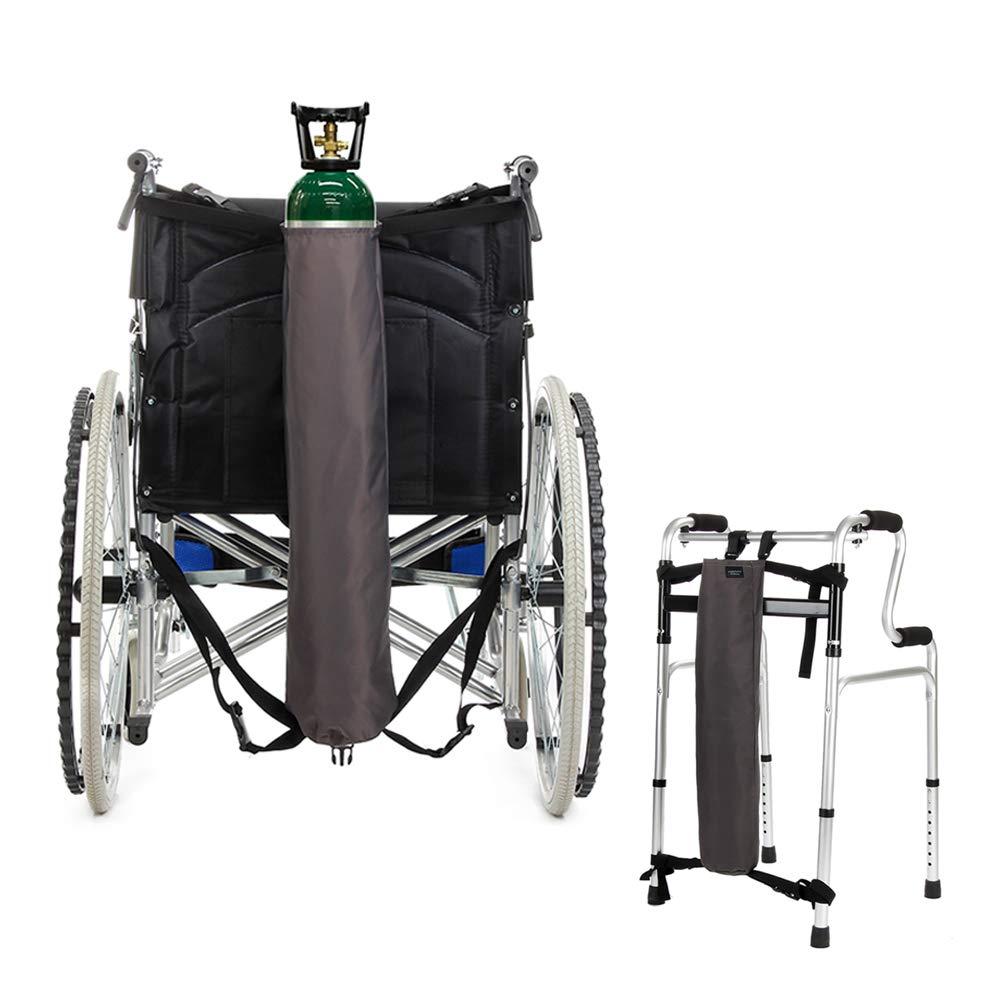 Oxygen Backpack Wheelchair Bag Holder Carrier Portable Oxygen Tank Carry Bag for Walker, Rollator, Fits ''D'' and ''E'' Cylinder Bottle (Gray)