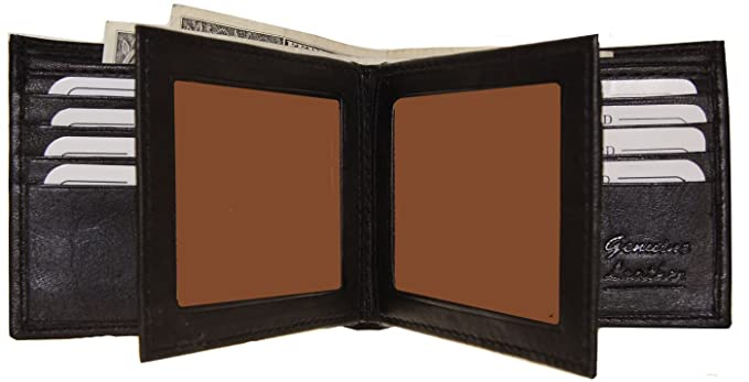 bc5061869251 Improving Lifestyles Men's SUN 1225 BK Leather Wallet Black Bifold Fixed  Flip 3 Window Id Organza Gift Bag, Black, One Size