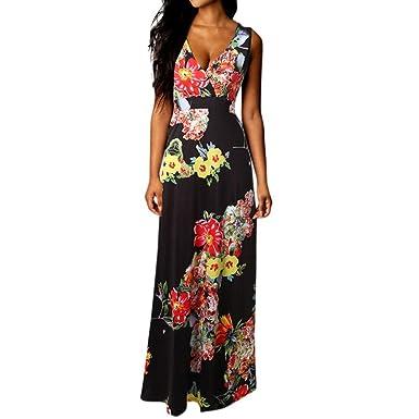 f808d6bffab2 Yusealia Women Floral Print Maxi Dresses Boho V-Neck Sexy Sleeveless Tank  Dress Prom Evening Cocktail Party Dress Casual Summer Beach Sundress  ...