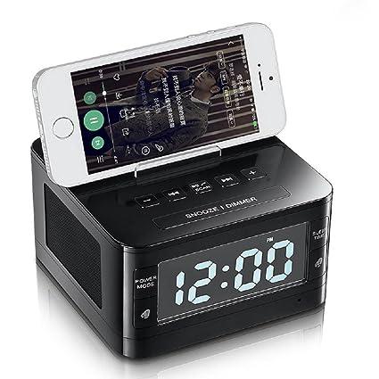QQA Reloj de Cabecera Radio FM Altavoz Bluetooth Cargador de Teléfono Celular