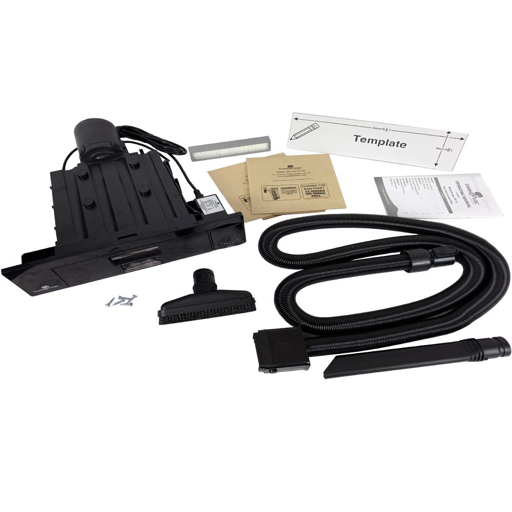 Sweepovac Built in Kitchen Vacuum Plus Hose and 2 attachments for Below Cabinets and Toe Kick Spaces, Black