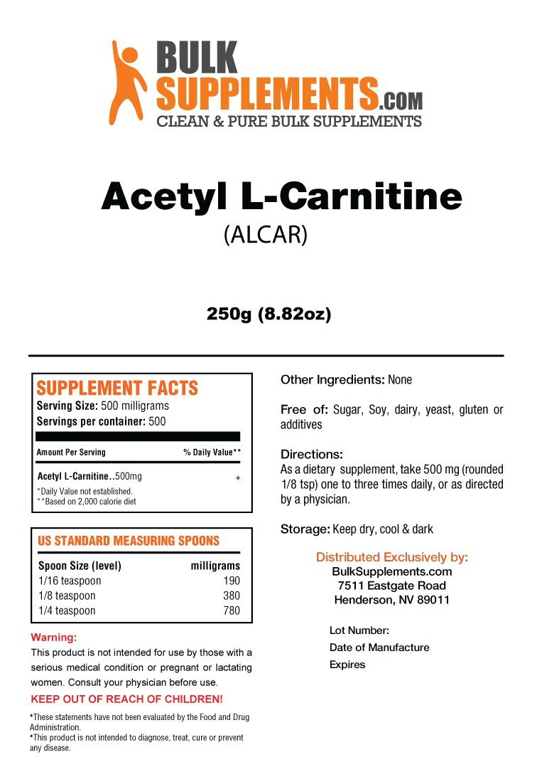 Acetyl L-Carnitine (ALCAR) Powder by BulkSupplements | Energy & Performance (250 grams) by BulkSupplements (Image #2)
