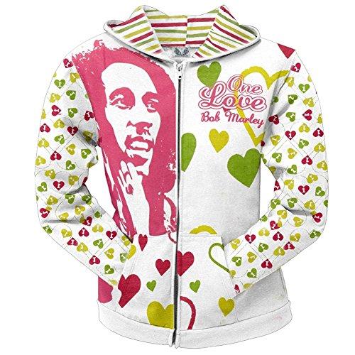 Bob Marley - One Love All Over Juniors Zip Hoodie - - Hoodie Juniors Zip