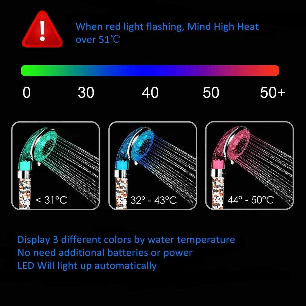Soffione Ionico Spa per Doccia con Massaggio di Filtrazione 3 Colori Cambiano GuDoQi Soffione Doccia a LED con Sensore di Temperatura 3 Impostazioni di Spruzzo con Extra 1 Filtri di Ricambio