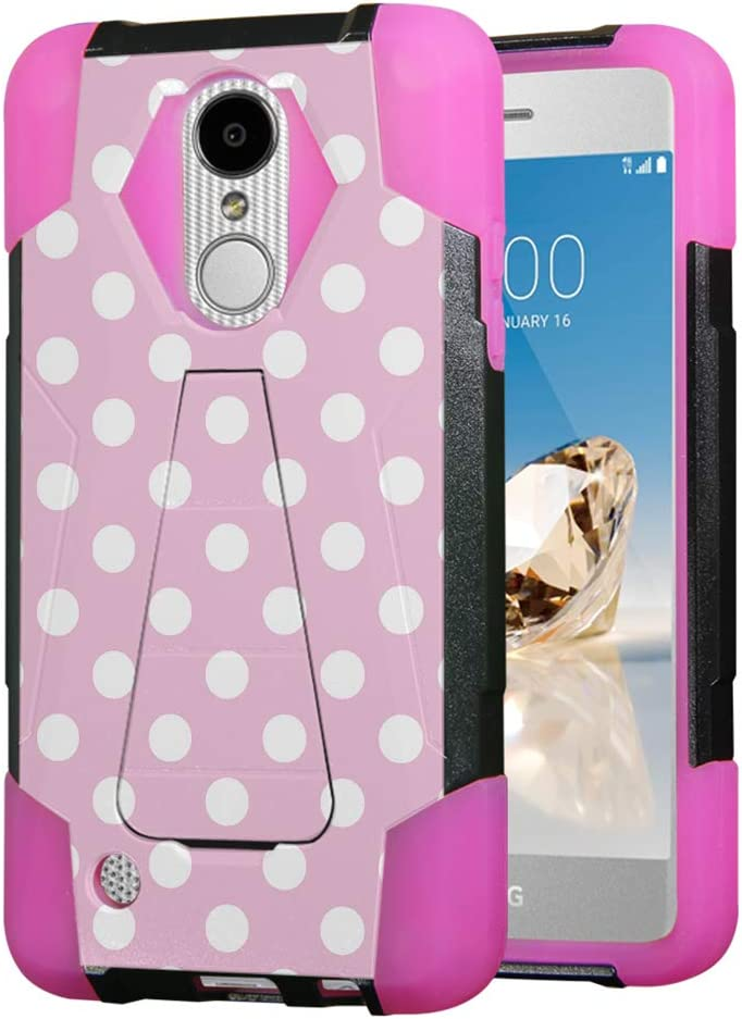 Moriko for LG Aristo 2 3 Plus, Tribute Empire Dynasty, Rebel 3 4 LTE, Fortune 2, Phoenix 3 4, Risio 2 3, Zone 4, K8, K8S, K8 Plus Kickstand Black Pink Cover Case (Polka Dot Pink)
