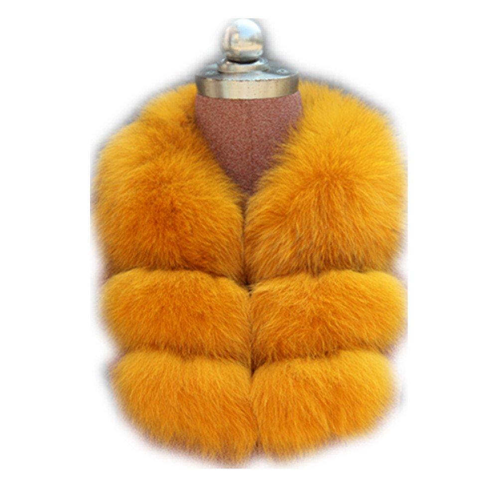 Gegefur Women's Real Fox Raccoon Fur Collar Scarf Wrap For winter (orange)