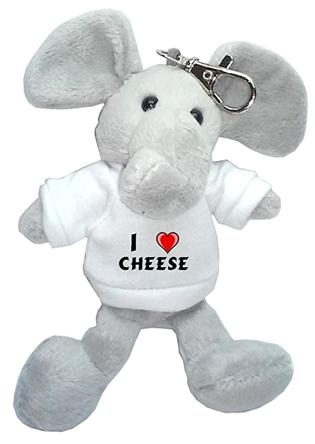 Amazon.com: Peluche de elefante llavero con I Love queso ...