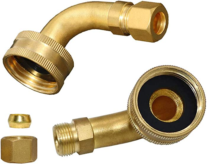 W10685193 Dishwasher Swivel Gooseneck Elbow Hose Solid Brass by AMI PARTS, Compatible with KitchenAid&Kenmore 3/4 by 3/8 Inch -Replace 3288910 AP5808972 PS9493732 W10273460-2 Packs
