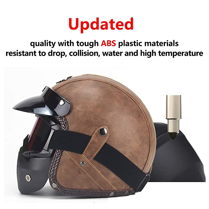 G-AVERIL Open Face 3//4 Motorcycle Helmet Cruiser Micrometric Buckle DOT Certified Brown