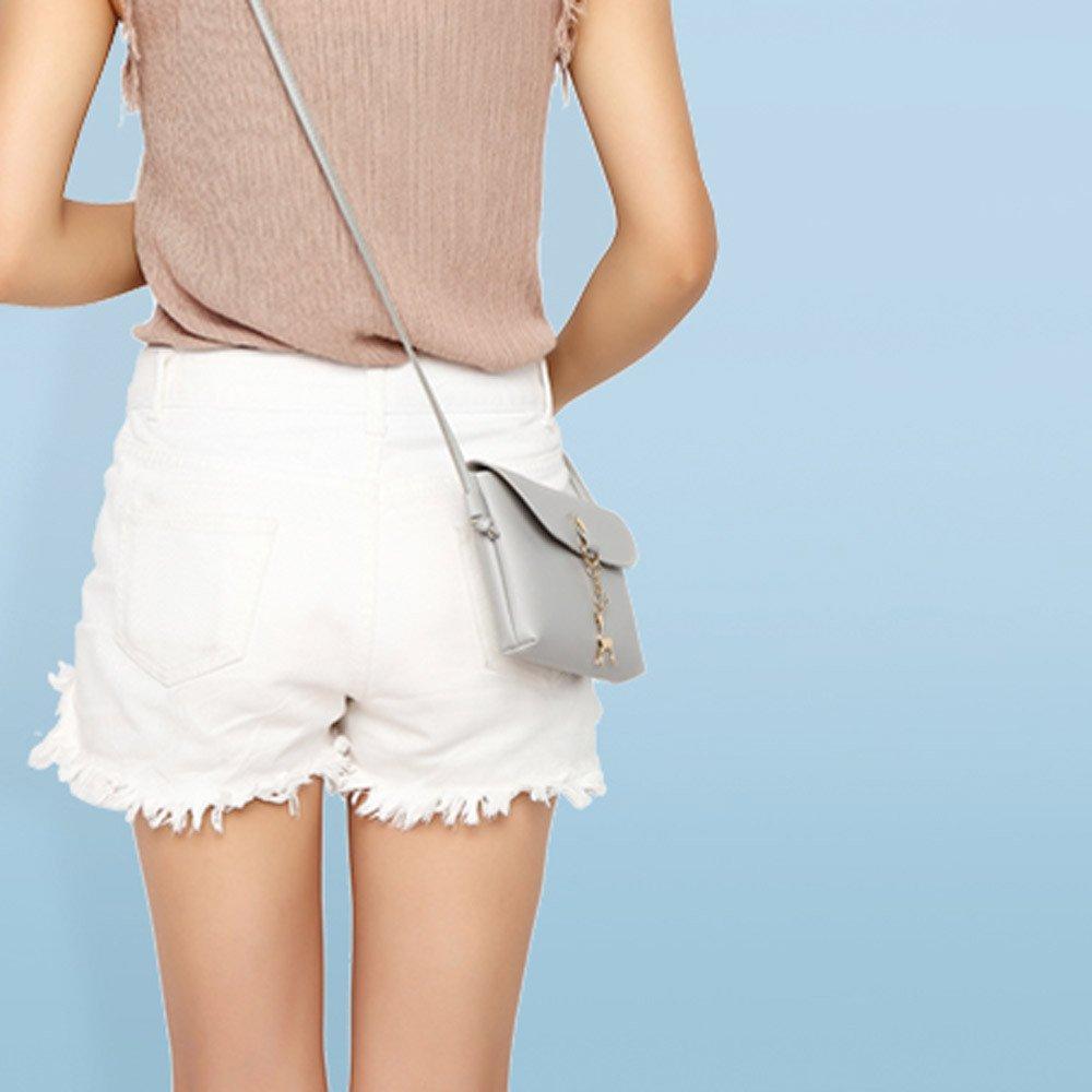 BCDshop Women Small Crossbody Shoulder Bag,GILR Deer Pendant Faux Leather Wallet Coin Purse (Gray) by BCDshop Shoulder Bag (Image #2)