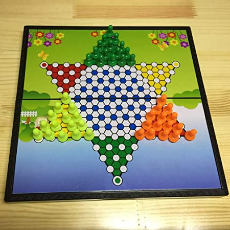 Damas chinas magnéticos portátiles rompecabezas tablero de ajedrez plegable Incluye 45 piezas de ajedrez de plástico en 3 colores Juegos de mesa para niños y adultos juguetes de madera para 6 años: