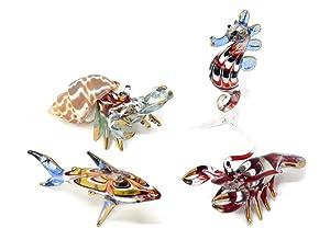 NaCraftTH Aquarium Decorations Glass Figurines Colorful Sea Life Fish Lobster Shark Seahorse Hermit Crab Murano Art Mini Handicraft Animal Figure Fish Tank Ornaments, Set of 4 (Mix Set 3)