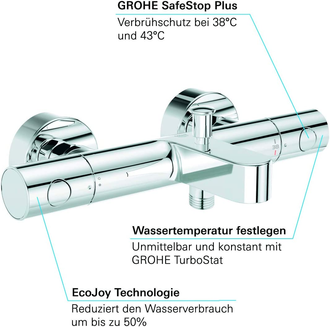GROHE 34321002 Grohtherm 1000 Cosmopolitan Thermostatic Shower Set