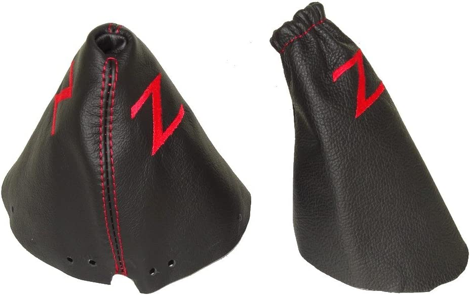 The Tuning-Shop Ltd FITS Nissan 350Z 2002-2008 Shift Boot Black Leather Double Grey Z Embroidery