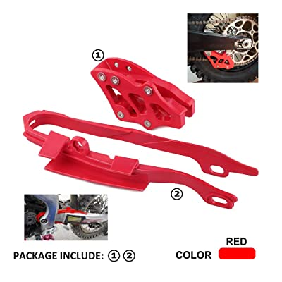 Motorcycle Red Plastic Chain Slider Guide Protector + Chain Guide Guard For HONDA CR125R CR250R CRF250R CRF450R CRF250X CRF450X: Automotive