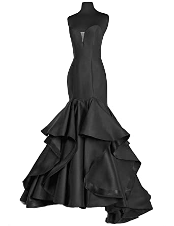 4f64635a0fc5 Scarisee Women's Sweetheart Mermaid Prom Evening Dresses Tiered Formal  Celebrity Party Gowns Sweep Train Black 02. Roll over image to zoom in