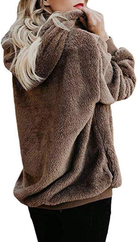 TRGCJGH Damen Langarm Fleece Hoodie Kapuze Sweatshirt Kordelzug Pullover Flauschige Fleece Pullover Jacke Loose Pullover,Gray-M Armygreen-l
