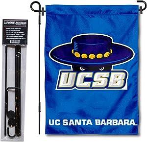 UCSB Gauchos Garden Flag and USA Flag Stand Pole Holder Set