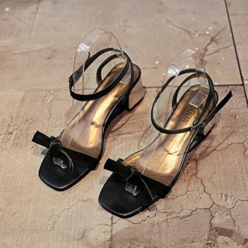 Hunpta À Épais Sandales Talons Gladiator Femmes Noir Orteil D'été Mariage Chaussures Ouvertes Chaussures Chaussures De 1qfxB