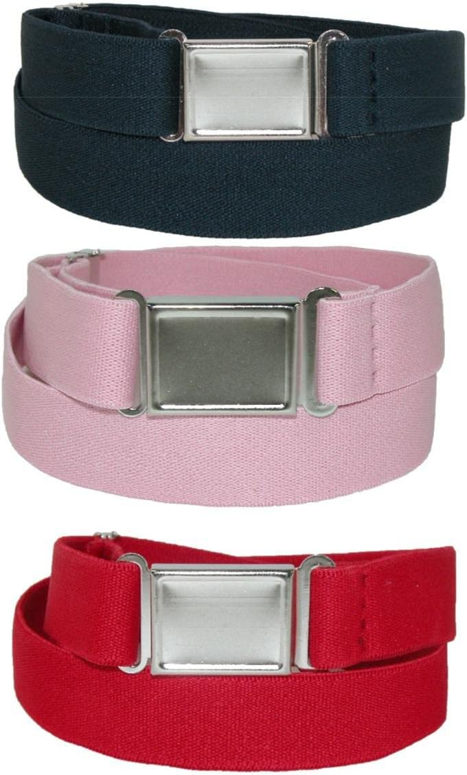 CTM/® Kids Elastic Stretch Belt with Magnetic Buckle Pack of 3 Colors Navy Pink and Red