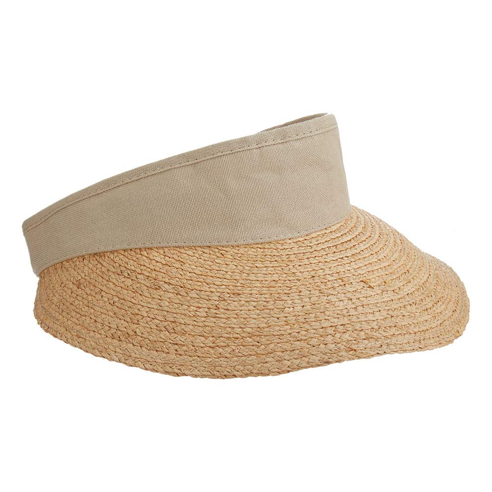 SCALA Women's Raffia Visor with Dyed Cotton Crown (Taupe) by SCALA