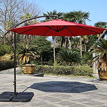 Sumbel Outdoor Living 10 Ft Patio Umbrella Offset Hanging Umbrella Outdoor,  Red