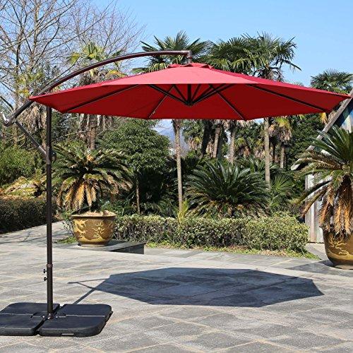 Sumbel Outdoor Living 10 Ft Patio Umbrella Offset Hanging Umbrella Outdoor, Red