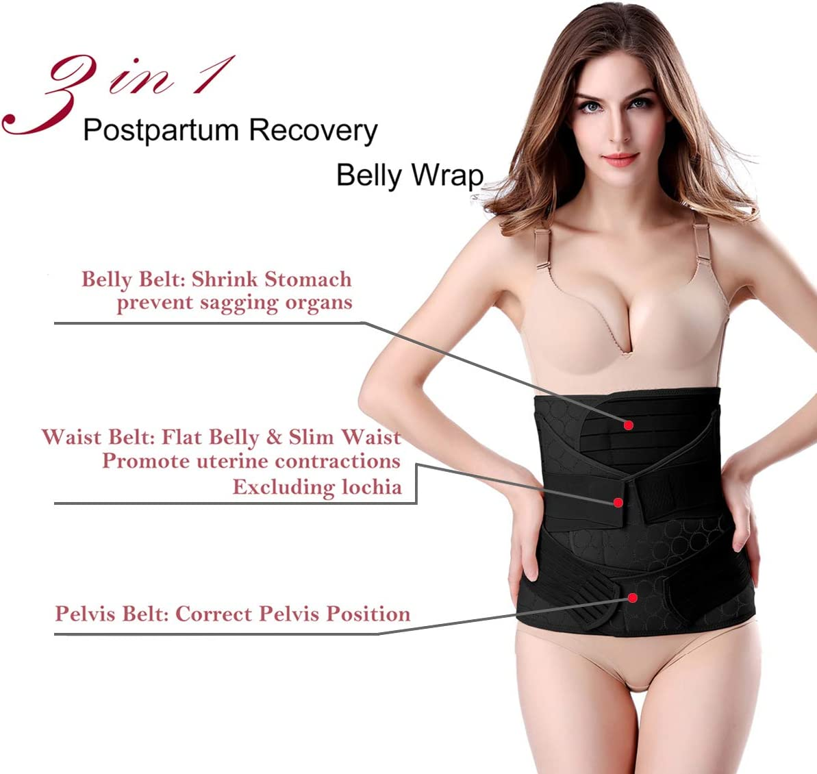 Black Plus Size 3 in 1 Postpartum Belly Wrap Recovery Belly//Waist//Pelvis Belt Black Postpartum Belly Band