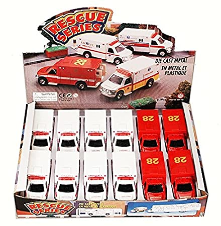 Amazon.com: Rescue Series Ambulance Diecast Car Package - Box of 12 Assorted 5 Inch Scale Diecast Model Cars: Toys & Games