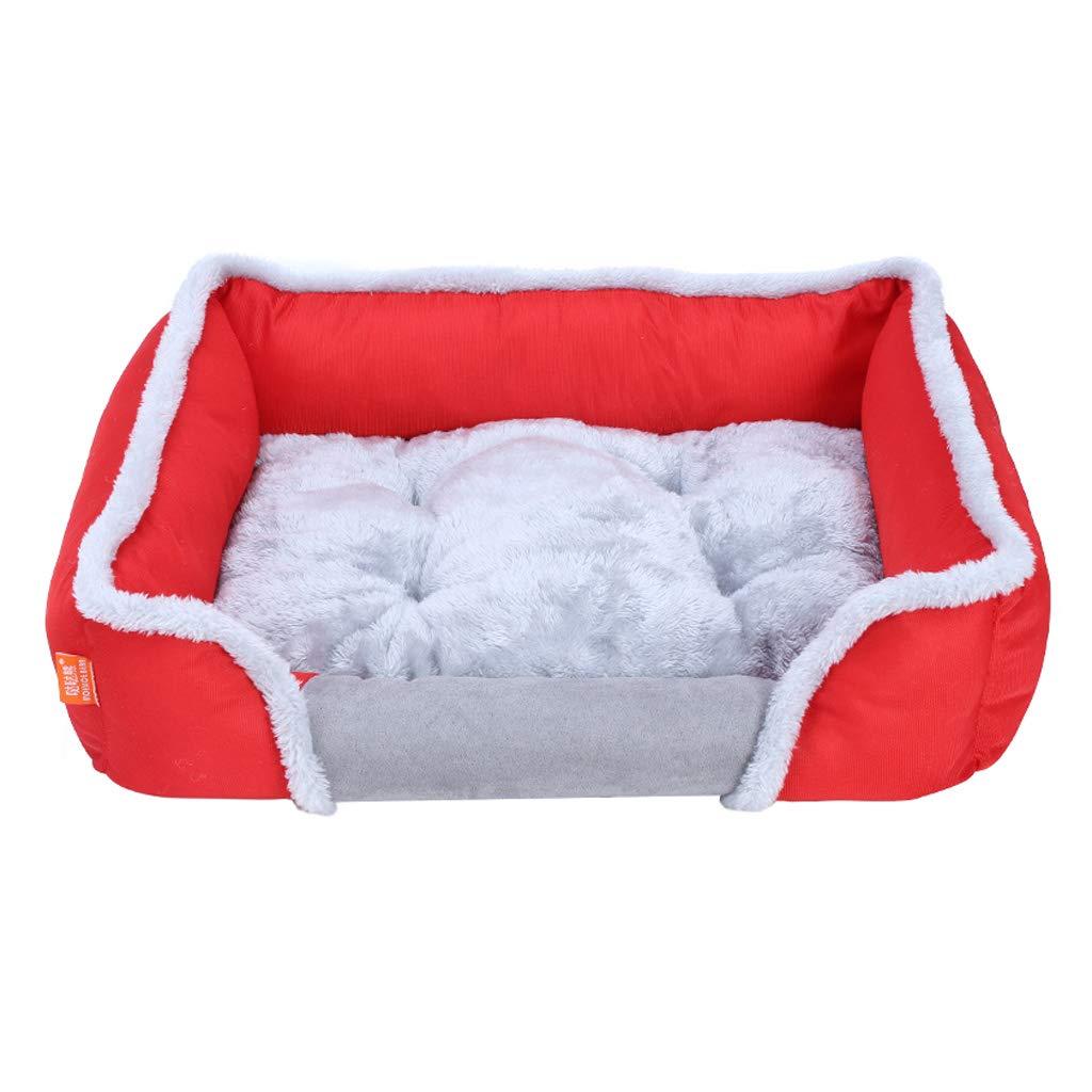 暖かいX ケンネル、大型、中型、小型犬、ペット用品、快適さ、冬、暖かい、滑り止め、ペットネスト、キャッテリー、(REd、Blue、Brown) (色 : REd, サイズ さいず : Xl:90*65*18cm) B07NV3TSQK REd L:80*60*13cm L:80*60*13cm|REd