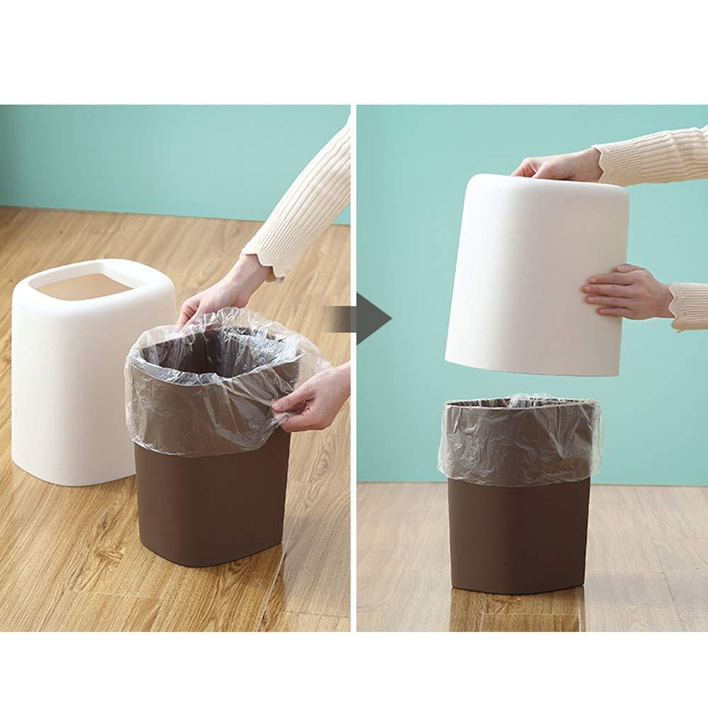 LJHA lajitong Cubo de Cuadrado Basura, Cuadrado de de plástico Cocina nórdica Cubo de Basura Hogar Salón Dormitorio Cuarto de baño Pequeño Grande Creativo sin Cubierta (Color : B) ea21dc