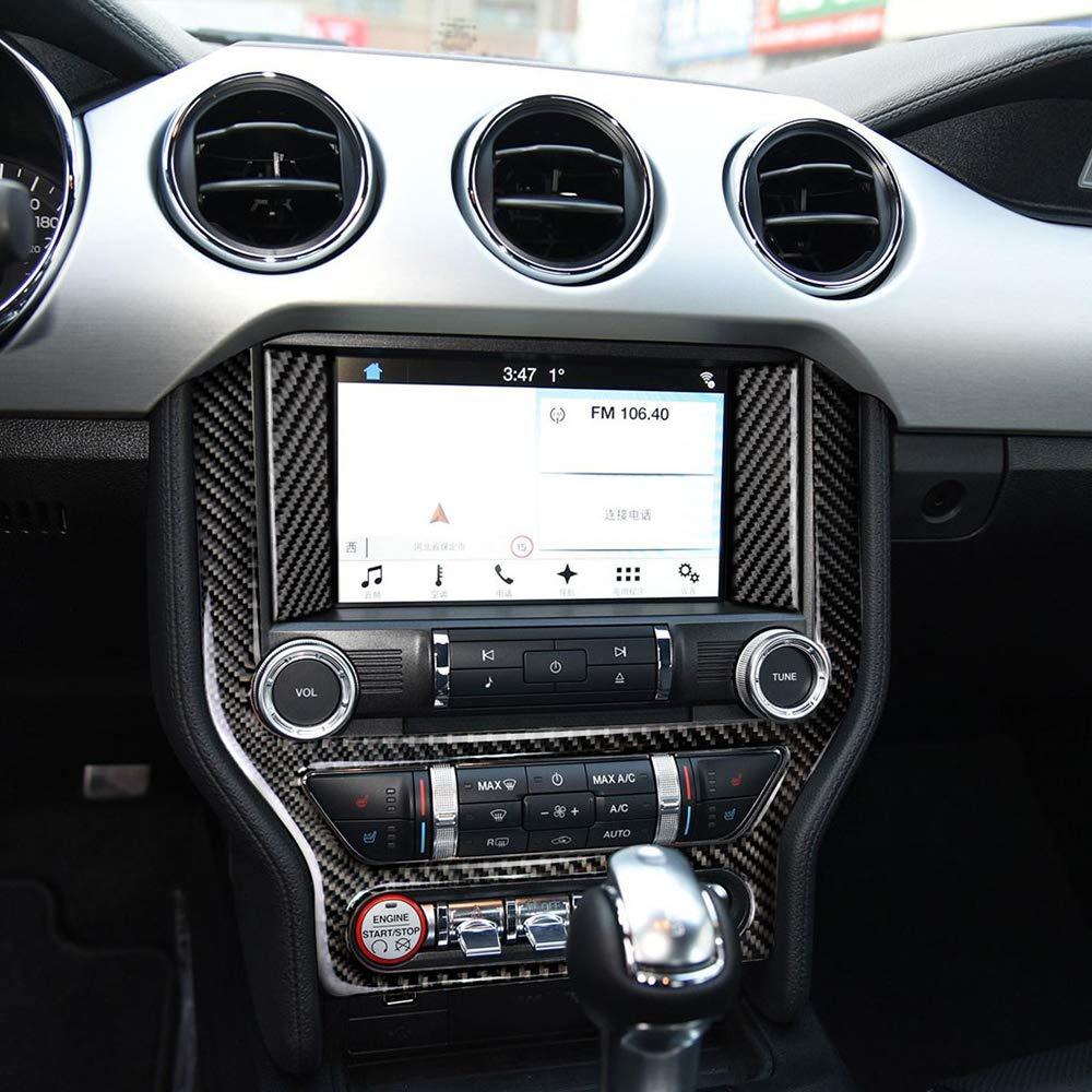 Festnight Adesivo per la Copertura del Pannello del CD con Aria condizionata in Fibra di Carbonio Adatto per Ford Mustang 2015-2017
