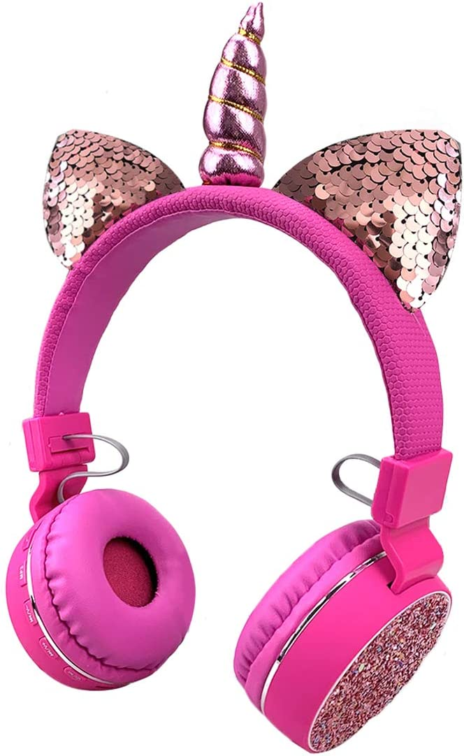 Unicorns Headphones Kids Cat Ear Bluetooth Headphones Wireless Foldable Headset with Mic Support TF Card, Aux in,Pink for Girls
