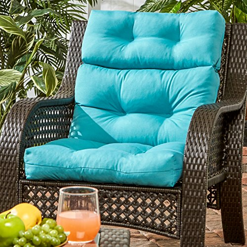 Review Greendale Home Fashions Outdoor High Back Chair Cushion, Teal