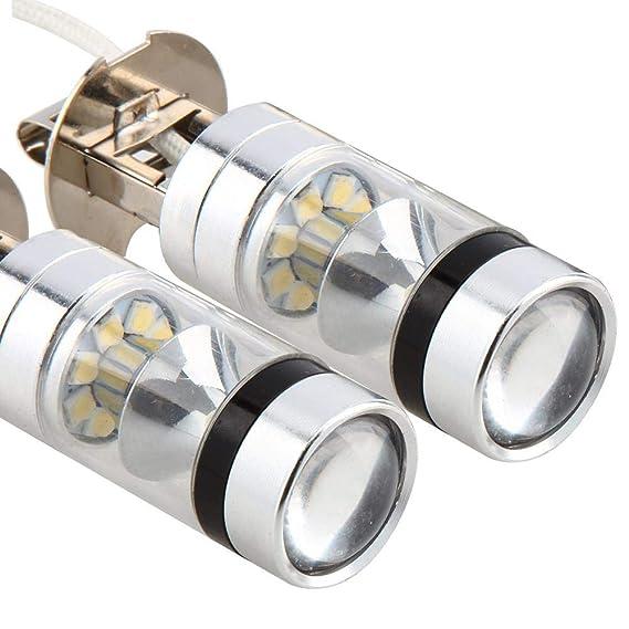 Qiilu Ampoule de Phare Avant Antibrouillard 2Pcs H3 6000K 100W LED 20-SMD Haute Puissance Brouillard Conduire DRL Ampoules HID