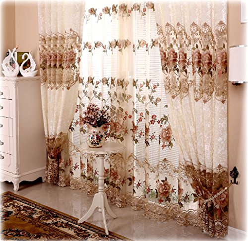 Shunshan Luxury Embroidery Floral Willow Tulle Voile Door Curtain Drape Panel Sheer Scarf Valances For Living Room 120 X 84 Inch