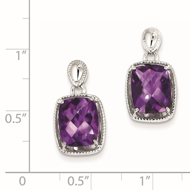 925 Sterling Silver Rhodium-plated Amethyst Dangle Earrings