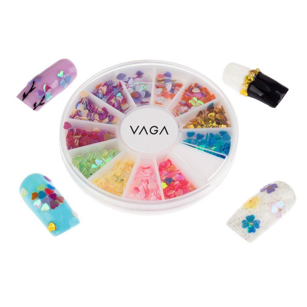 Great Value High Quality Manicure 3D Nail Art Decorations Wheel With Fimo Heart Shape Slices / Decal Pieces In 12 Different Colours By VAGA®