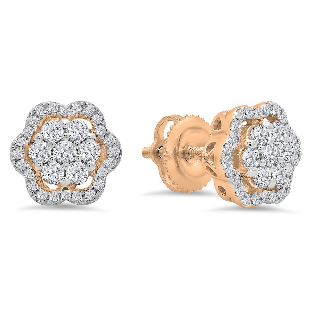 0.45 Carat (ctw) 14K Rose Gold Round White Diamond Ladies Fashion Cluster Style Stud Earrings