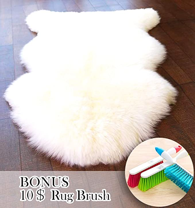 ABUSA Genuine Australian Sheepskin Rug Chair Cover Seat Pad Shaggy Area Rug for Couch Sofa Floor One Pelt Ivory White 2.2 x 3.9ft