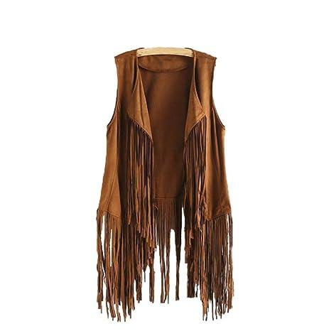 senza donna giacche etnico camoscio donne nappe finto maniche 6qOgR