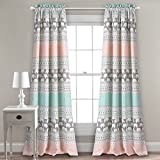 Cheap Lush Decor Lush Décor Elephant Stripe Room Darkening Window Curtain Panel Pair, 84″ x 52″ + 2″ Header, Turquoise and Pink
