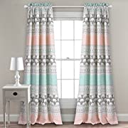 Lush Decor Lush Décor Elephant Stripe Room Darkening Window Curtain Panel Pair, 84  x 52  + 2  Header, Turquoise and Pink