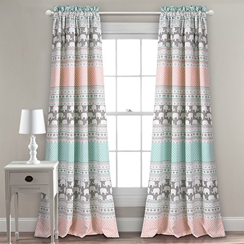"Lush Decor Elephant Stripe Curtains Pattern Room Darkening Window Panel Set for Living, Dining, Bedroom (Pair) 84"" x 52"" Turquoise & Pink"