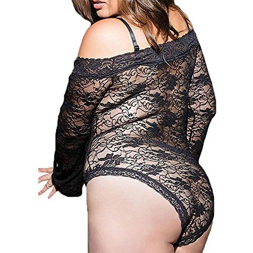 YUYU Mujeres La manga larga Del hombro Delgado Encaje Impresión de la Silm Pijamas de una pieza Conjuntos de ropa interior Comprar conseguir uno gratis Black