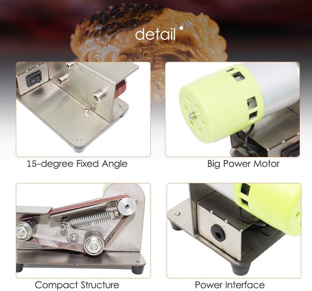 HUILING Electric Belt Sander, Profession Belt Machine Knife Sharpener 7 Files Adjustable Polishing Grinding Machine 100W Sanding Machine Comes With 10 Belts 775 Motor
