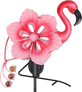 John's Studio Garden Solar Wind Spinner Metal Flamingo Windmill LED Outdoor Decorative Path Lights with Anchoring Stake for Home Patio and Yard