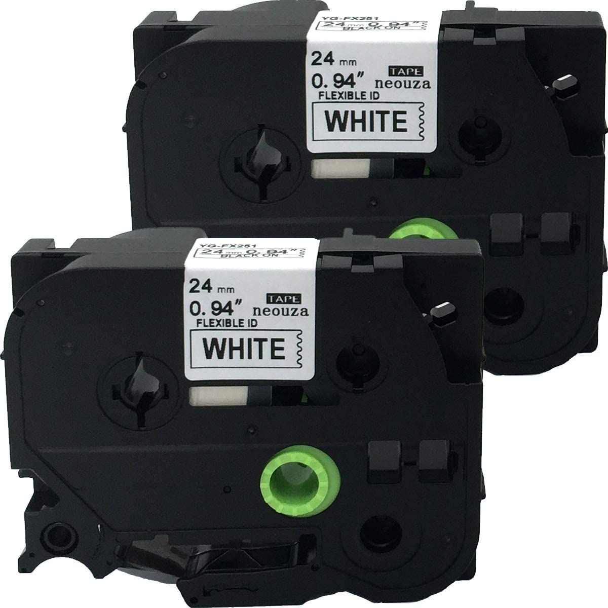 TZe-B51 Black on Orange Fluorescent NEOUZA 2PK Compatible For Brother P-Touch Laminated TZe TZ Label Tape 24mm x 5m