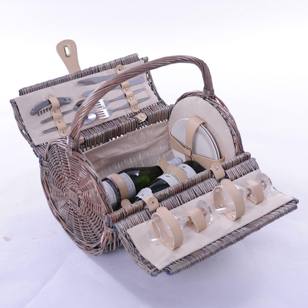 2 Person Barrel Ausgestattet Wicker Picknickkorb